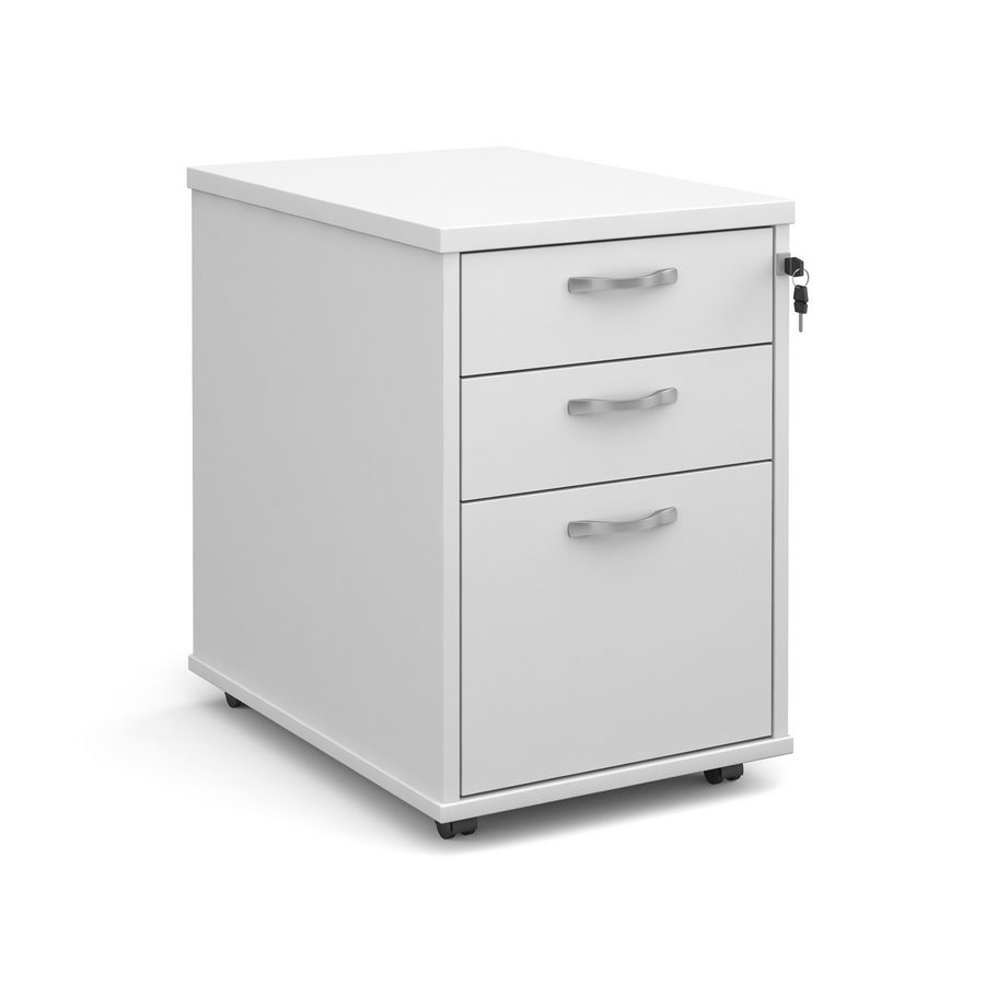 Picture of Tall mobile 3 drawer pedestal with silver handles 600mm deep - white