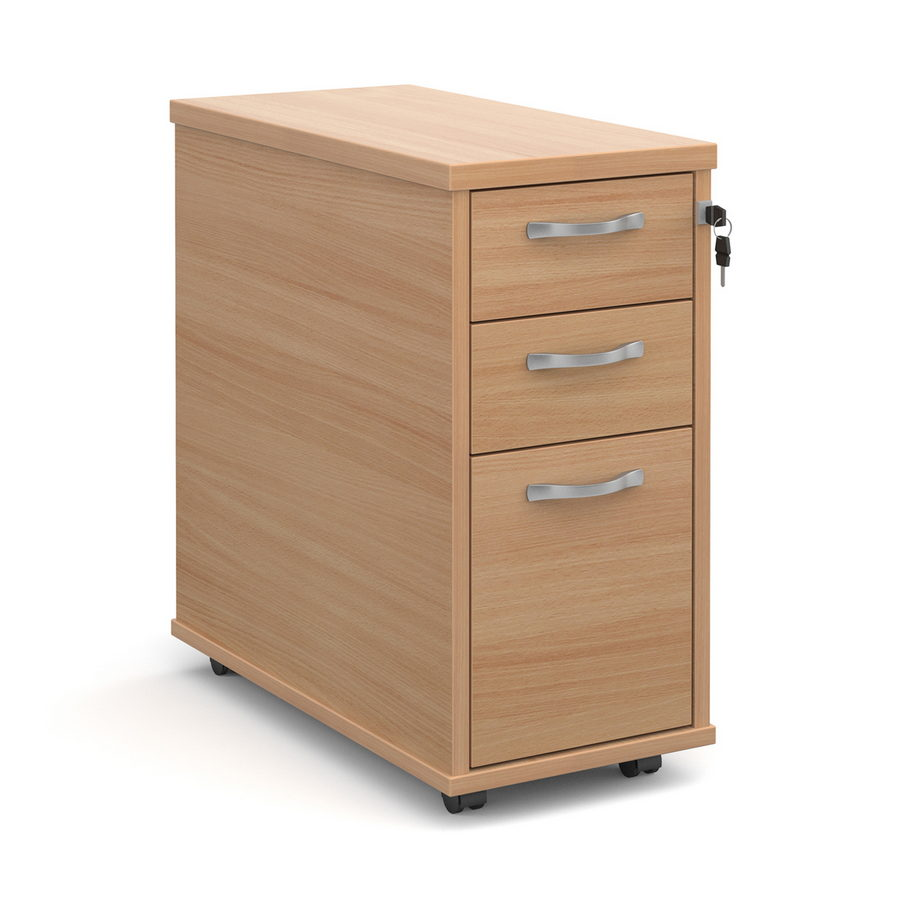 Picture of Tall slimline mobile 3 drawer pedestal with silver handles 600mm deep - beech