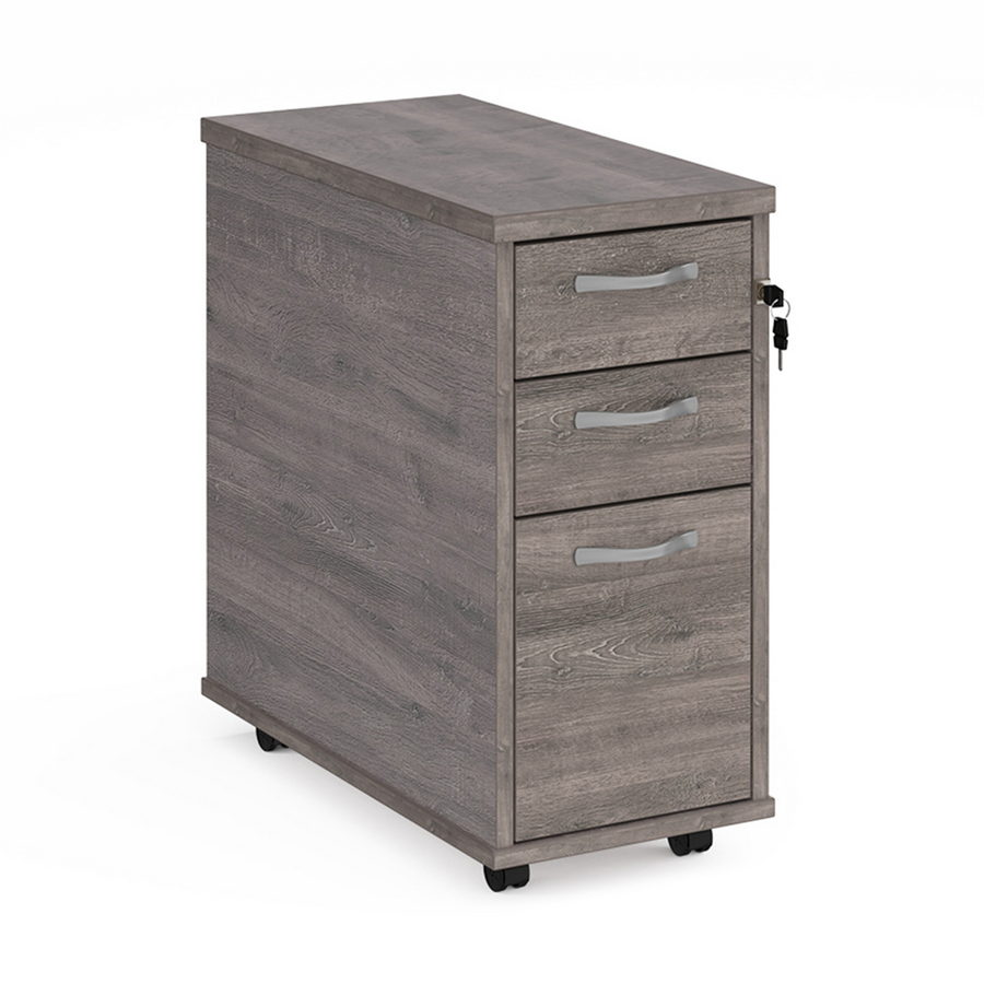 Picture of Tall slimline mobile 3 drawer pedestal with silver handles 600mm deep - grey oak