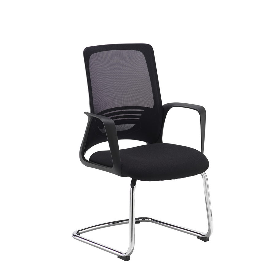 Picture of Toto black mesh back visitors chair with black fabric seat and chrome cantilever frame