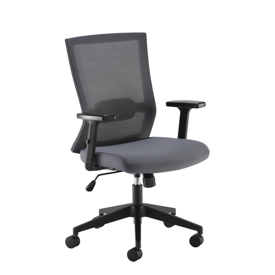 Picture of Travis grey mesh back operator chair with grey fabric seat and black base