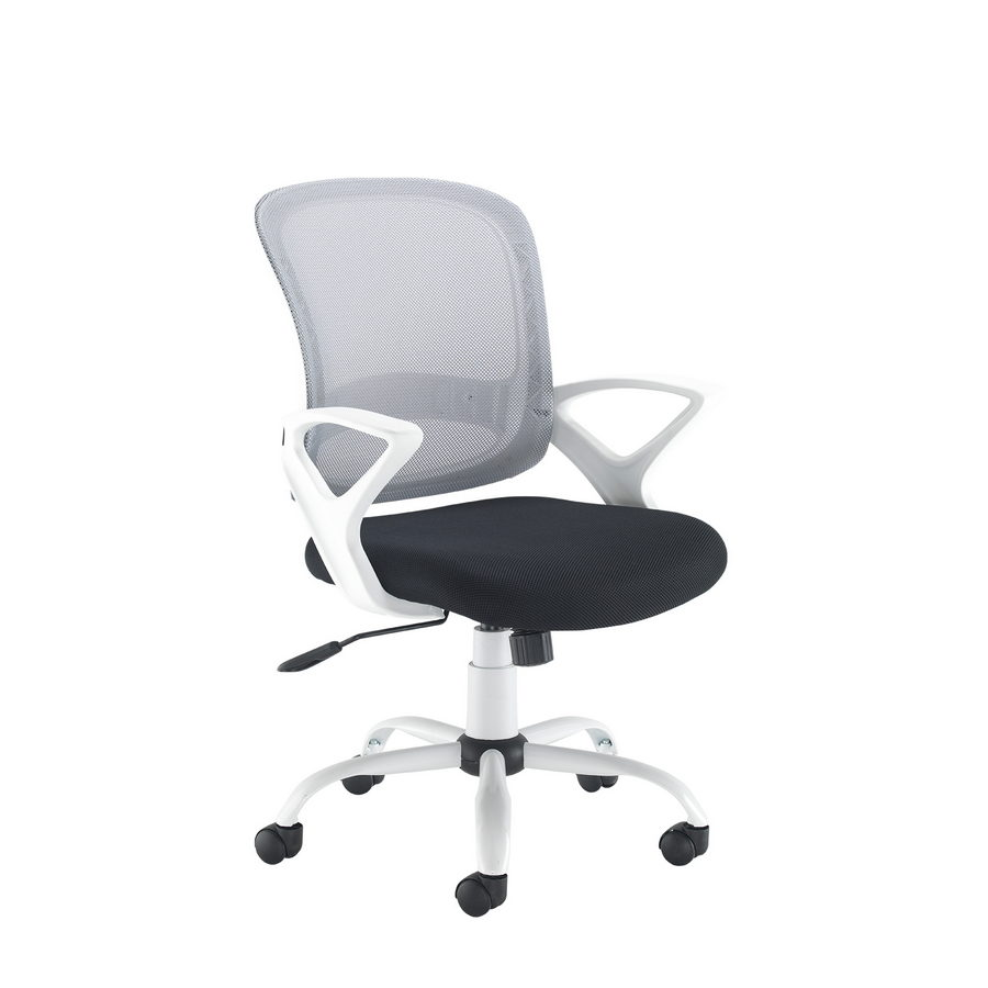 Picture of Tyler mesh back operator chair with white frame