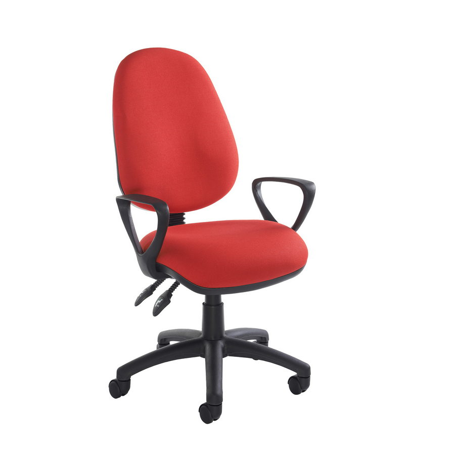 Picture of Vantage 100 2 lever PCB operators chair with fixed arms - red