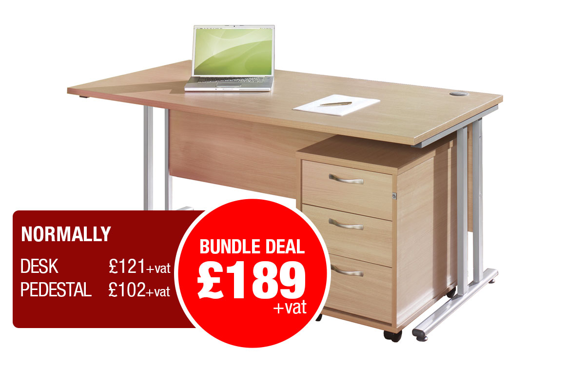 Maestro 25 SL straight desk with Pedestal